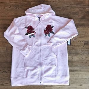Brunette The Label Pink Embroidered Long Hoodie